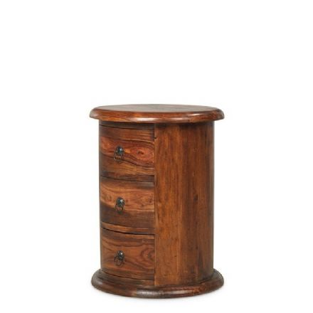 Jali Sheesham Wood 3 Drawer Drum